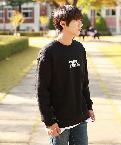 오버핏 나염 기모 맨투맨 티셔츠