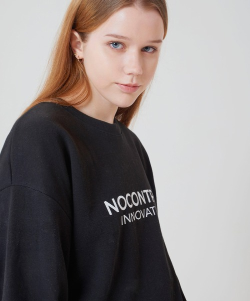 [노컨트롤] FRONT NECK Overfit CREWNECK BLACK