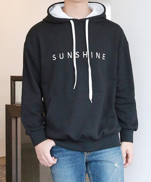 편안한핏 자수 포인트 후드 티셔츠