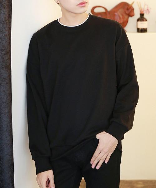 배색 루즈핏 맨투맨 티셔츠