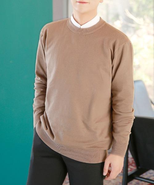 남자 무지 니트 티셔츠