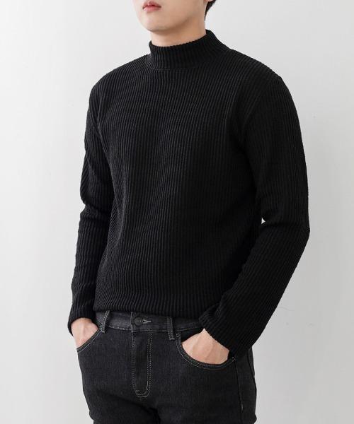 FitUs|セミハイネックリブニットTシャツ