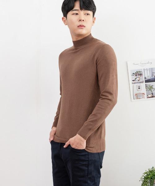FitUs|セミハイネックシンプルTシャツ