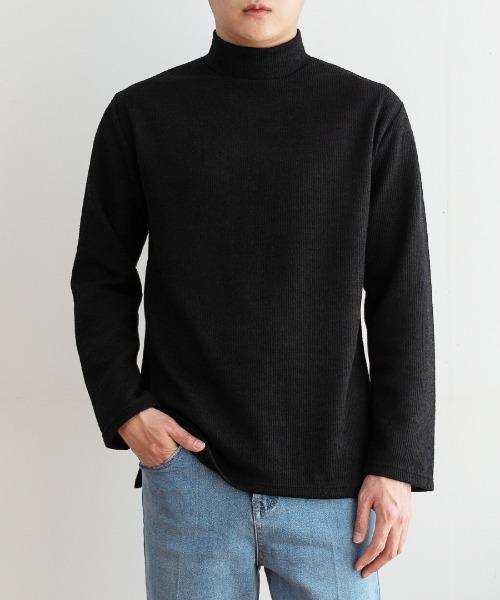 FitUs|セミハイネックリブTシャツ