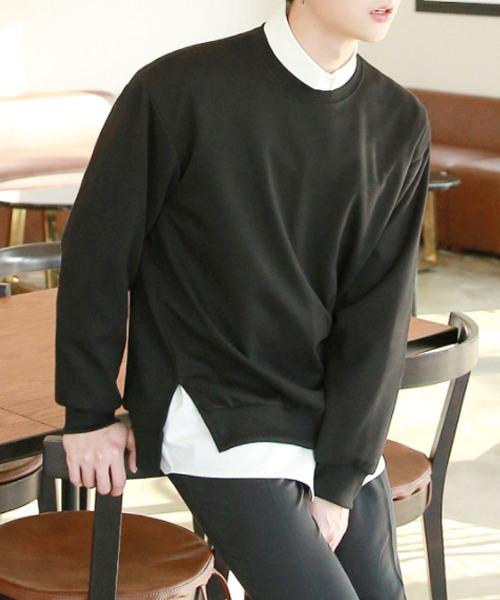 무지 언발 옆트임 맨투맨 티셔츠