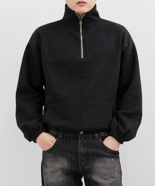 FitUs|ハーフジップハイネックスウェットTシャツ