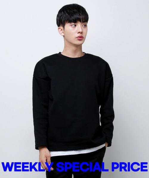 [한정특가] 절개 트임 박스 기모 티셔츠 - 블랙 S