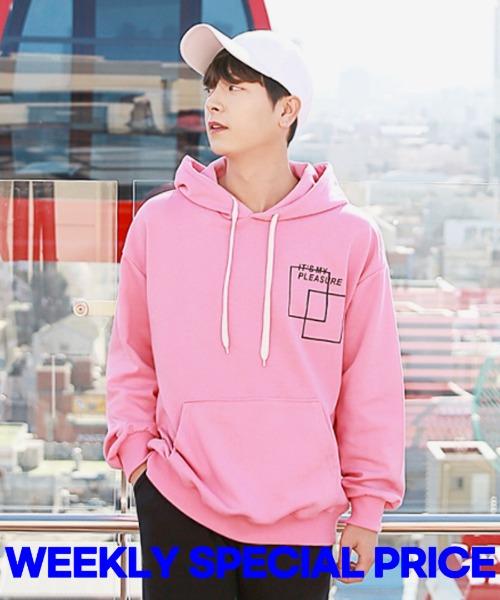 [한정특가] 스퀘어 플레져 후드 티셔츠 - 핑크M,L