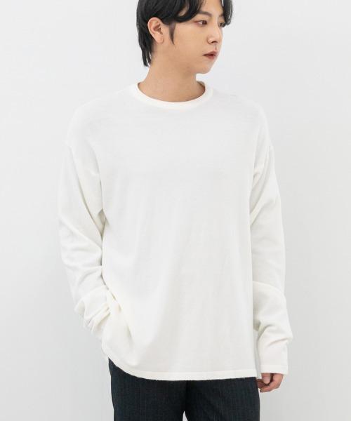 FitUs|無地ロングスリーブニットTシャツ