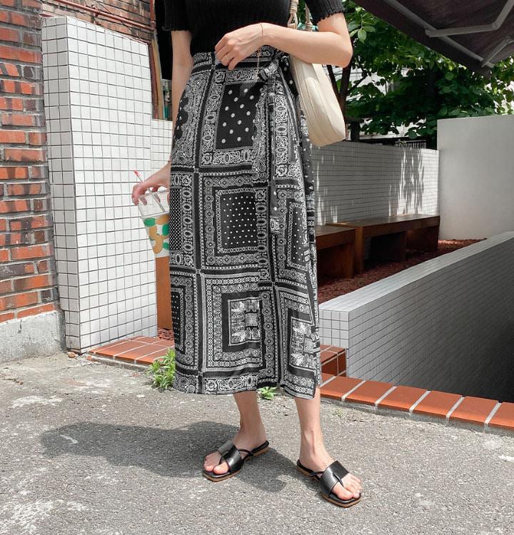 ペイズリーラップロングスカート