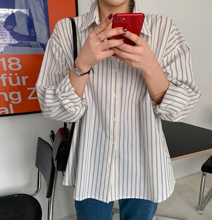 ツーストライプラインルーズシャツ