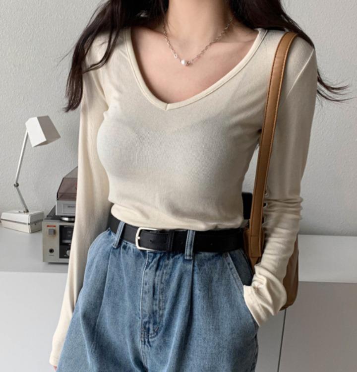 [무료배송] 모노 여리 골지 V 티셔츠 - 4 color
