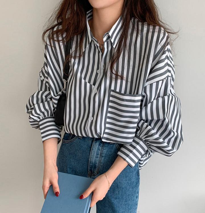 [무료배송] 모덴 오버핏 스트라이프 셔츠 - 2 color