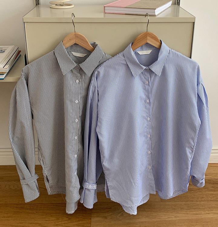 パフボタンストライプシャツ