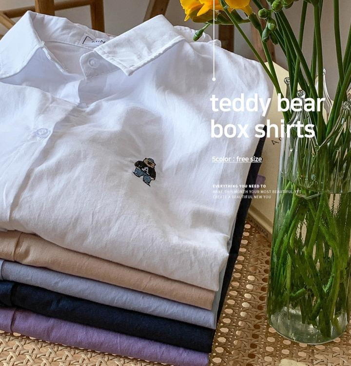 [무료배송] 베어 자수 루즈핏 셔츠 - 5 color