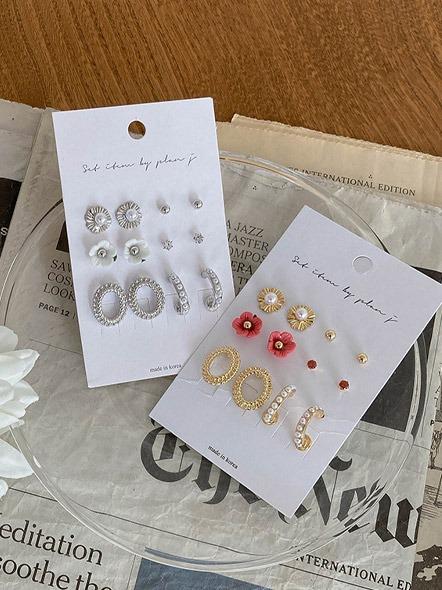 [무료배송] 6set펄플라워_earring