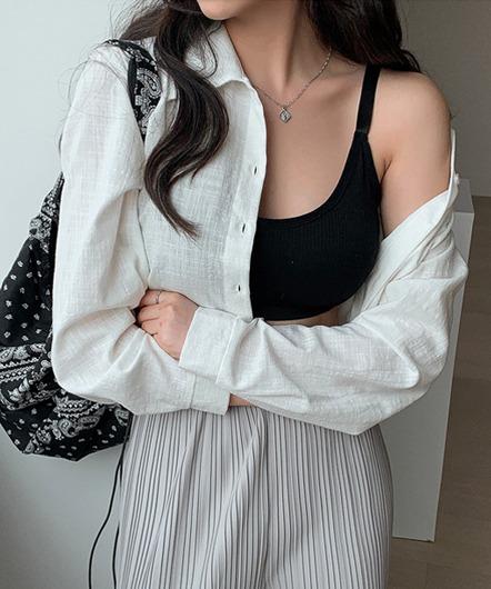 [무료배송] 블루밍 시스루 크롭 셔츠 - 4 color