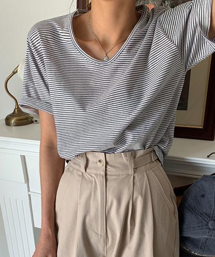 [무료배송] 슬라브 U 단가라 티셔츠 - 5 color