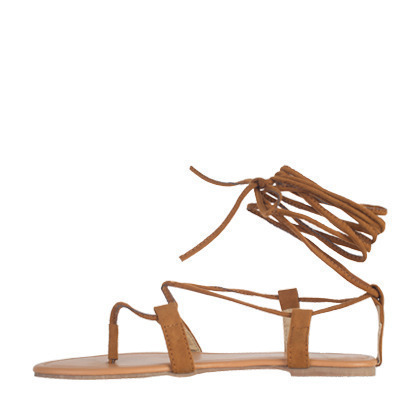 Suede Lace-Up Gladiator Flat Sandals
