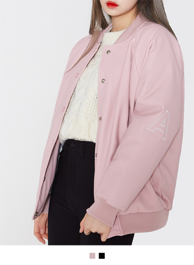 HIDE AND SEEKFaux Leather Varsity Jacket