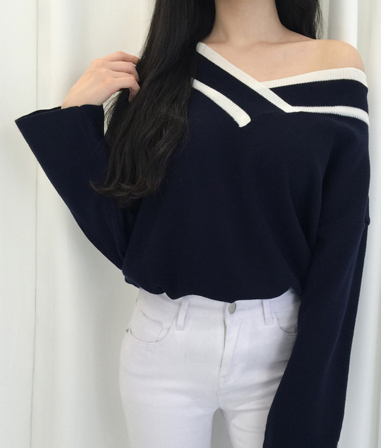 Wide V-Neck Knit Sweater