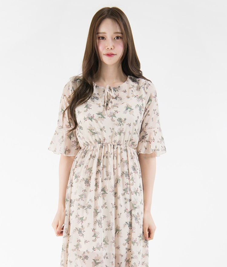Floral Flounced Half Sleeve Midi Dress