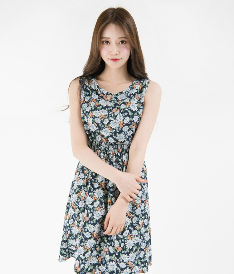 Flower Print Shirred Waist Sleeveless Dress