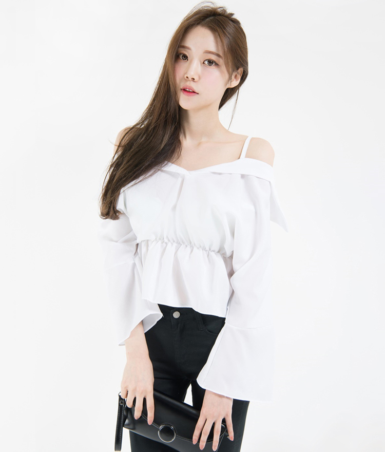 Cold Shoulder Gathered Waist Blouse