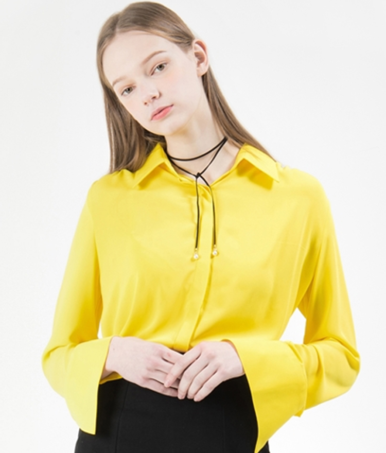 Wide Cuff Concealed Placket Blouse