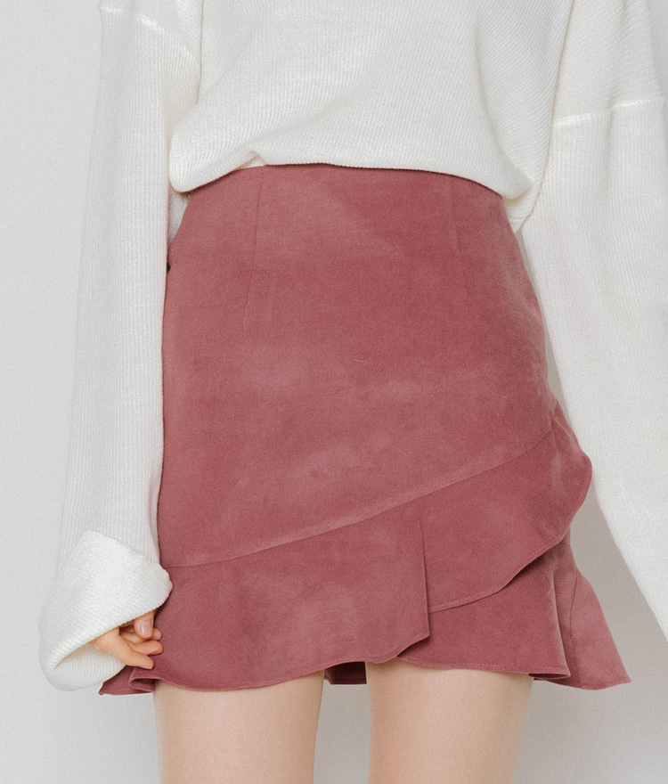Asymmetric Frilled Hem Mini Skirt
