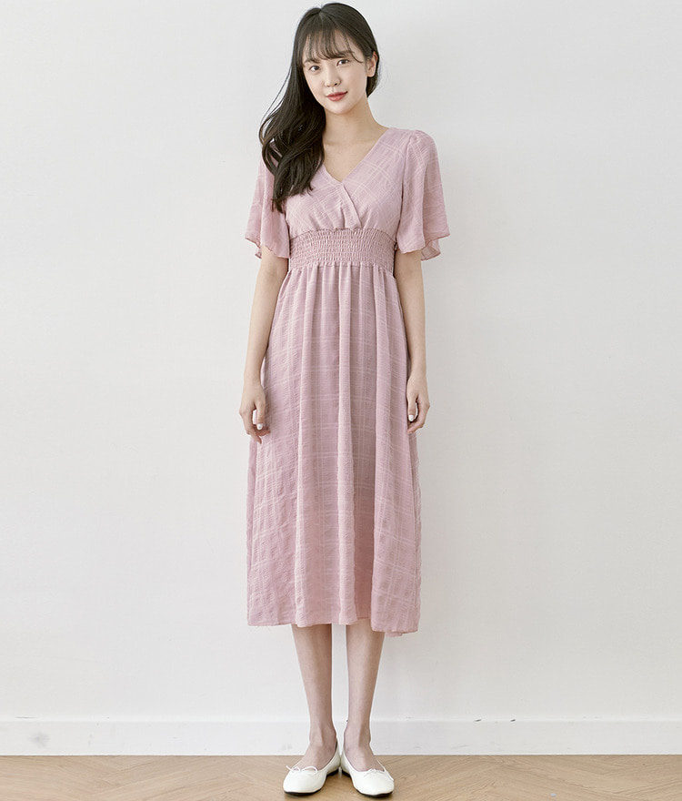 ROMANTIC MUSEV-Neck Smock Dress