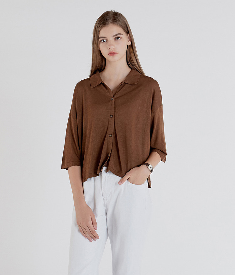 ESSAYButton-Up Crop Shirt