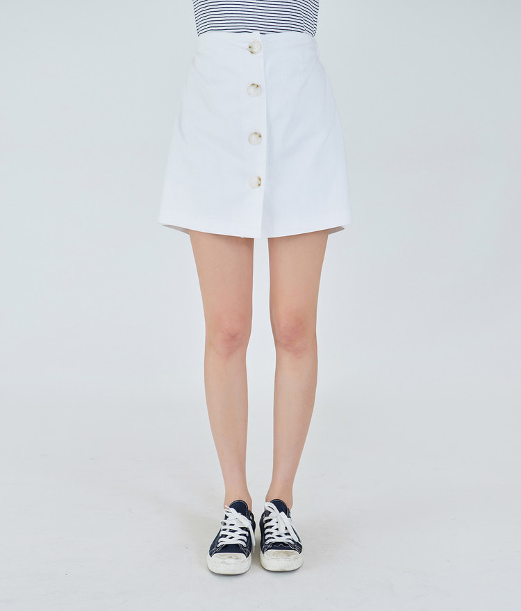 ESSAYElastic Waistband Button-Up Skort