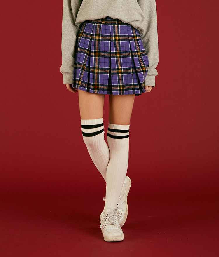 NEVERM!NDSemi-Elastic Waist Pleated Check Skirt