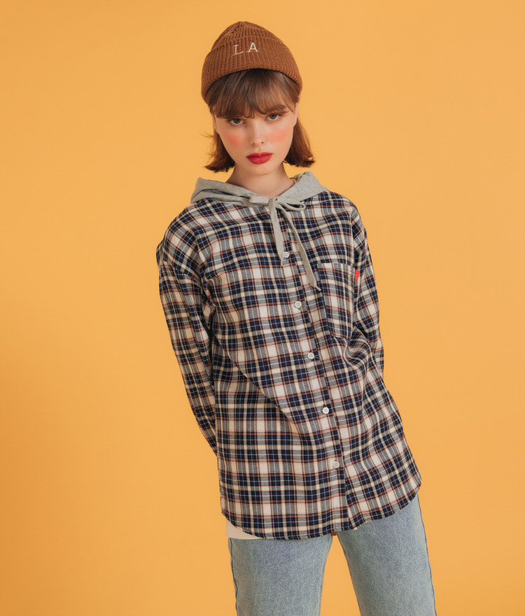 NEVERM!NDCheck Hooded Shirt
