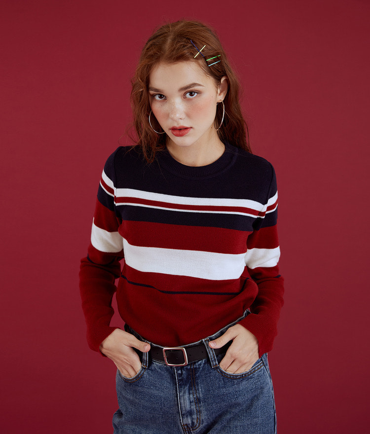 NEVERM!NDRound Neck Stripe Knit Top