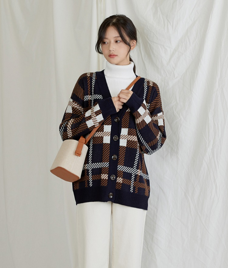 ESSAYV-Neck Check Cardigan