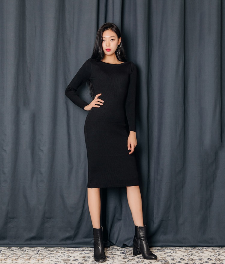 QUIETLABBoat Neck Solid Tone Dress