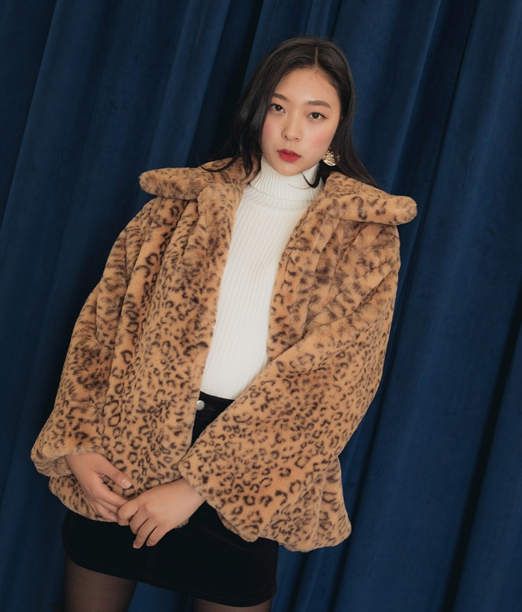 QUIETLABWide Collar Leopard Pattern Jacket