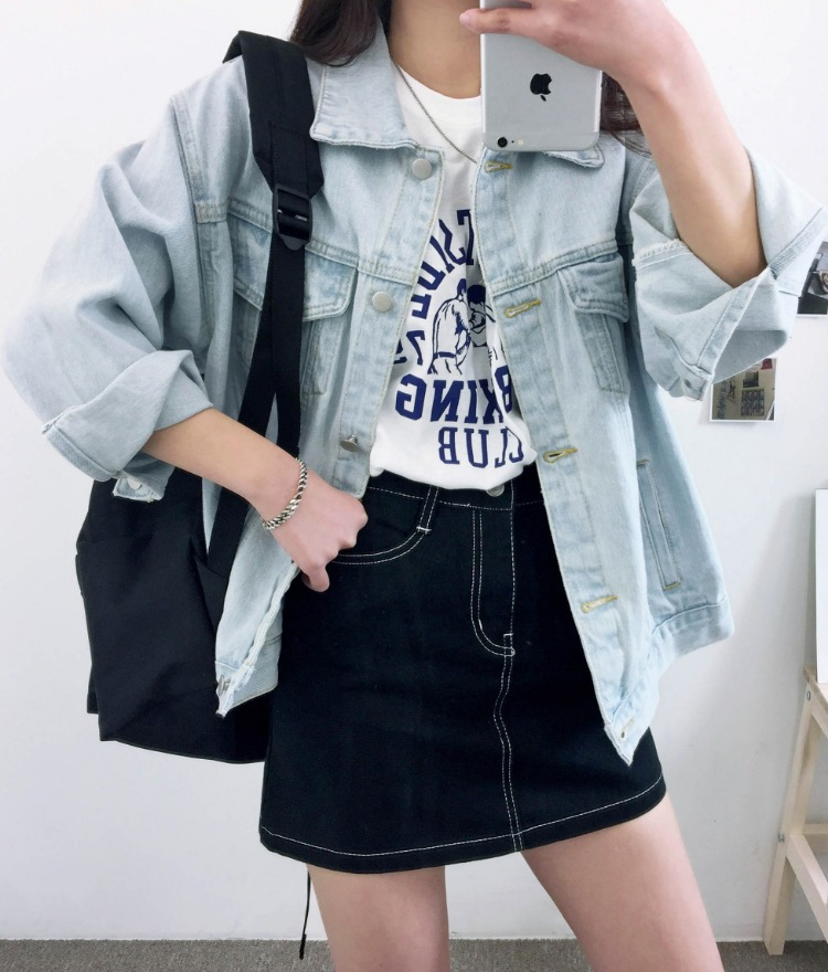 NEVERM!NDLight Blue Loose Fit Denim Jacket