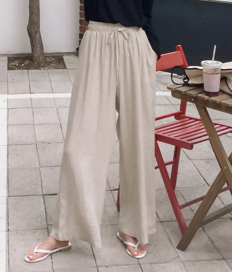 ESSAYLinen Blend Wide Leg Drawstring Pants