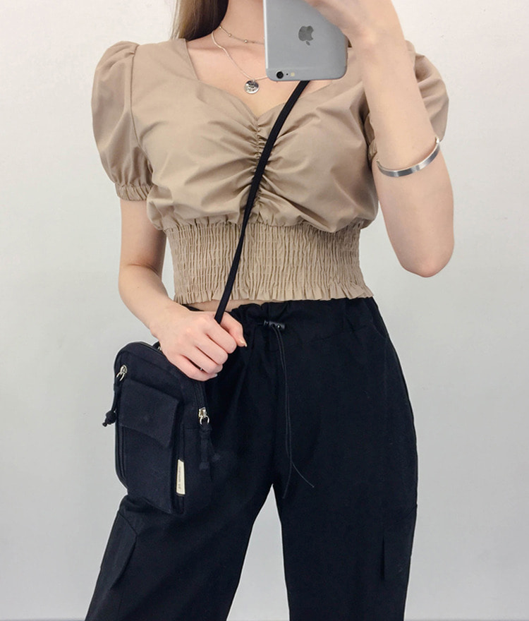 QUIETLABShirred Hem Crop Top