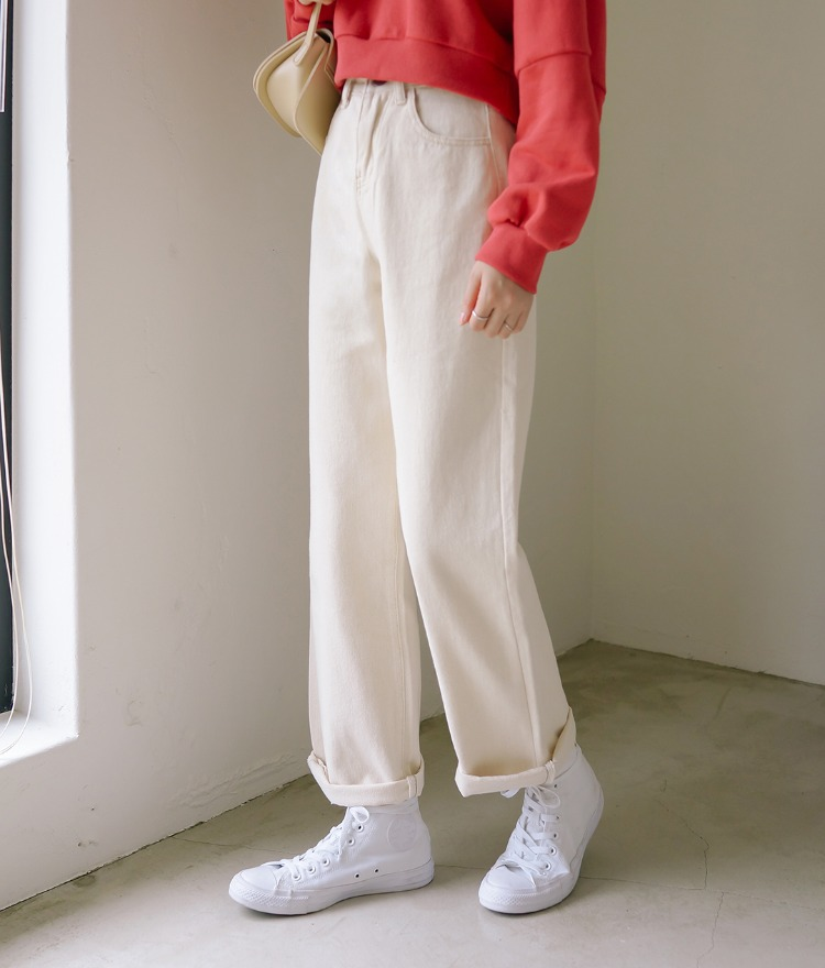 ESSAYContrast Stitch Beige Loose Pants
