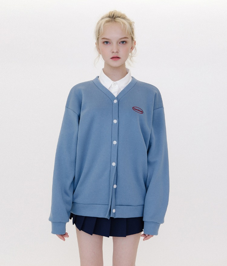 UNTITLE8Embroidered Logo Indie Blue Button-Up Cardigan
