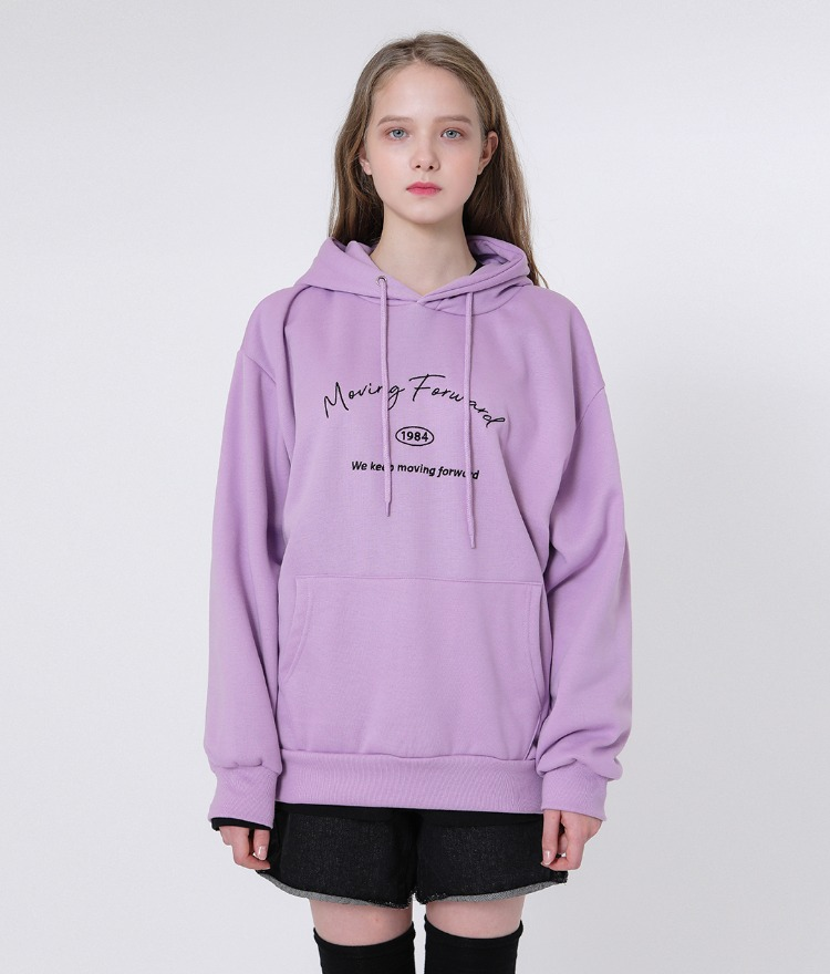UNTITLE8Embroidered Lettering Light Purple Hoodie