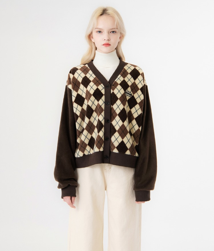 UNTITLE8Brown Argyle Pattern V-Neck Cardigan