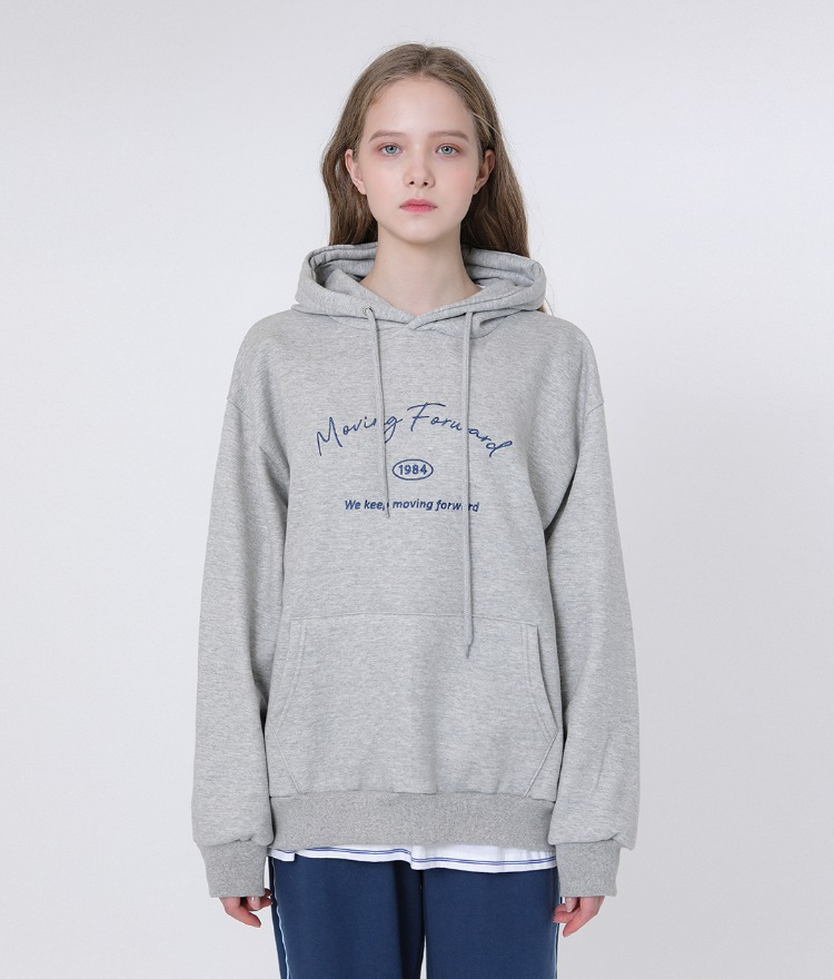 UNTITLE8Embroidered Lettering Gray Hoodie