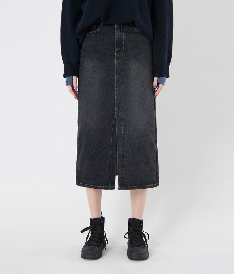 QUIETLABFront Slit Faded Wash Denim Skirt