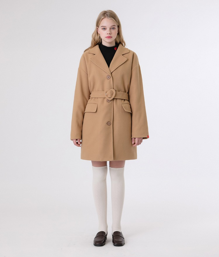 HEART CLUBBeige Buckled Belt Short Coat