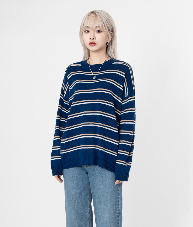 NEVERM!NDContrast Stripe Knit Top